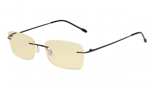 Computer Glasses Women - Blue Light Blocking Readers with Yellow Filter Lens - Lightweight Rimless Reading Eyeglasses,Black TMWK9905B