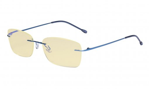 Computer Glasses Women - Blue Light Blocking Readers with Yellow Filter Lens - Lightweight Rimless Reading Eyeglasses,Blue TMWK9905B
