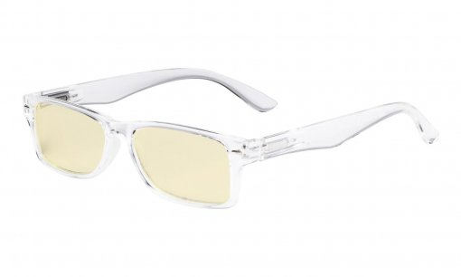 Ladies Blue Light Blocking Reading Glasses with Yellow Filter Lens - Design Computer Readers Women - Transparent TM066