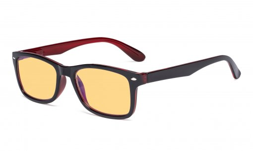 Blue Light Blocking Computer Reading Glasses Women Men with Amber Tinted Filter Lens Classic Readers Black-Red HPR075