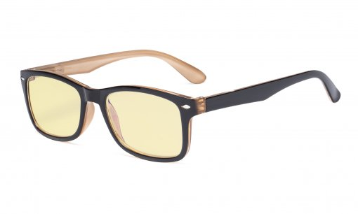 Blue Light Blocking Computer Glasses Women Men with Yellow Tinted Filter Lens - Classic Eyeglasses - Black-Brown TMCG075