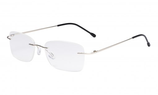 Ladies Frameless Reading Glasses - Lightweight Rimless Readers Women Silver RWK9905