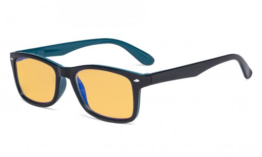 Blue Light Blocking Computer Reading Glasses Women Men with Amber Tinted Filter Lens Classic Readers Black-Blue HPR075