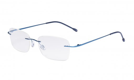 Ladies Frameless Reading Glasses - Lightweight Rimless Readers Women Blue RWK9905