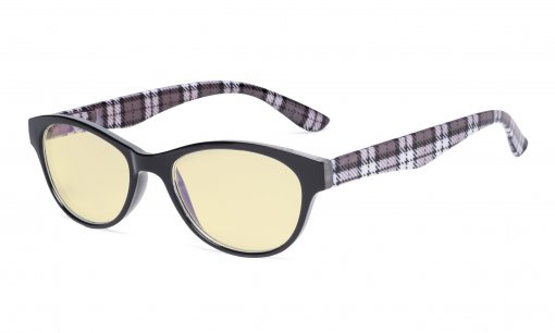 Blue Light Blocking Reading Glasses Women with Yellow Filter Lens - Ladies Cateye Computer Readers - Plaid TM074