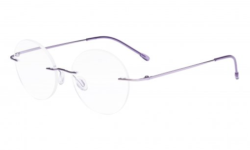 Frameless Reading Glasses Women - Round Rimless Readers Men Purple RWK9910