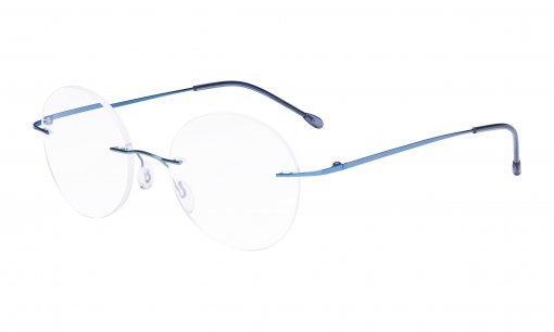 Frameless Reading Glasses Women - Round Rimless Readers Men Blue RWK9910