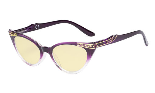 Ladies Blue Light Blocking Glasses with Yellow Filter Lens - Cateye Computer Eyeglasses Women - Purple-Transparent TM914