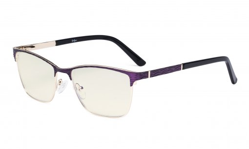 Ladies Computer Glasses - Semi Rimless Blue Light Filter Eyeglasses Women- UV420 Protection Eyewear - Purple LX19012-BB40