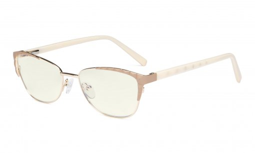 Ladies Computer Glasses - Blue Light Filter Eyeglasses Women- UV420 Protection Cateye Eyewear - Beige LX19016-BB40