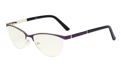 Ladies Computer Glasses - Half Rimless Blue Light Filter Eyeglasses Women- UV420 Protection Cateye Eyewear - Purple LX19013-BB40