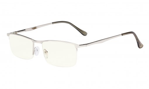 Computer Reading Glasses - Blue Light Filter Readers - UV420 Protection Metal Half-rim Women Men - Silver UVR1614