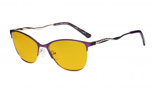 Ladies Blue Light Blocking Glasses with Amber Tinted Filter Lens - Semi Rimless Computer Eyeglasses Women - UV420 Cateye Eyewear with Crystals - Purple LX19014-BB90