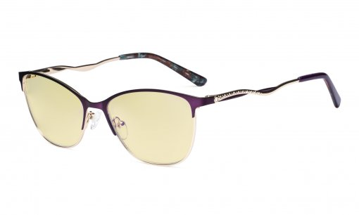 Ladies Blue Light Blocking Glasses with Yellow Filter Lens - Semi Rimless Computer Eyeglasses Women - UV420 Cateye Eyewear with Crystals - Purple LX19014-BB60