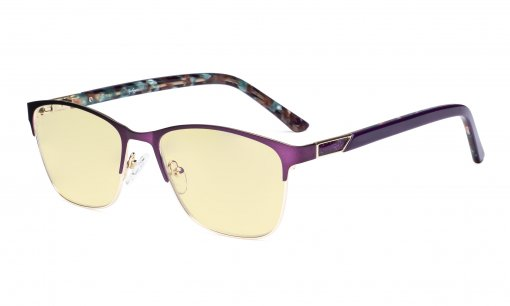 Blue Light Blocking Glasses Women with Yellow Filter Lens - Ladies Anti Blue Ray Eyeglasses - Purple LX19015-BB60