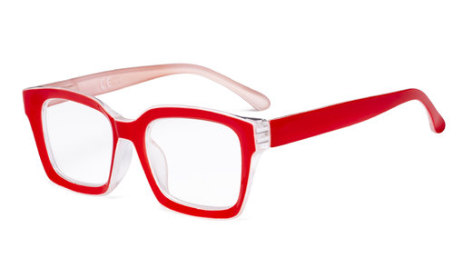 Ladies Reading Glasses - Oversized Square Design Readers for Women Red R9106