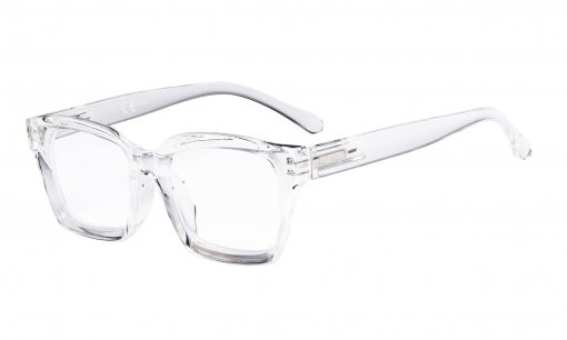 Ladies Reading Glasses - Oversized Square Design Readers for Women Transparent R9106