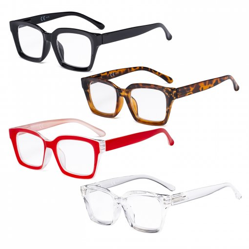 4 Pack Ladies Reading Glasses - Oversized Square Design Readers for Women R9106-Mix