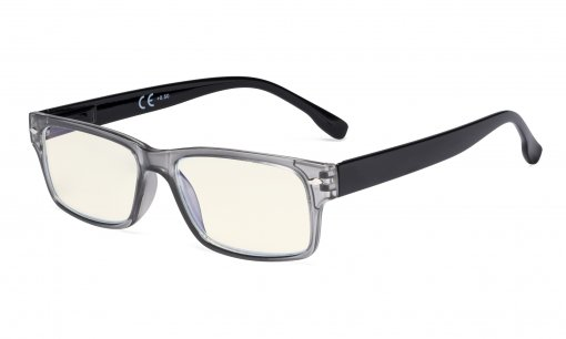 Blue Light Filter Reading Glasses Women Men - UV420 Protection Computer Readers - Grey UVR108