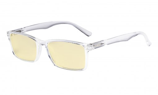 Computer Glasses - Blue Light Blocking Readers with Yellow Filter Lens - Stylish Reading Glasses  - Transparent TM802