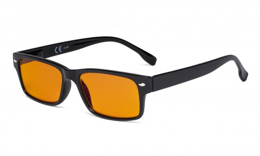 Blue Light Blocking Reading Glasses Women Men with Orange Tinted Filter Lens for Sleeping - Computer Readers - Black DS108