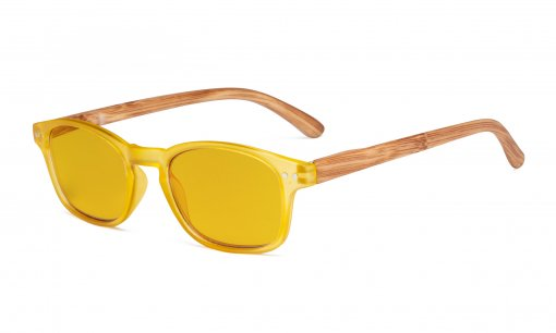 Blue Light Blocking Computer Reading Glasses - Amber Tinted Filter Lens Readers with Bamboo-look Temples  - Yellow Frame HP034