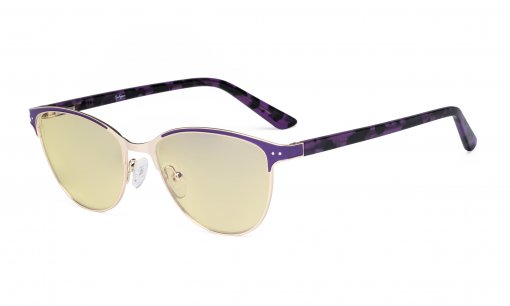 Ladies Blue Light Blocking Glasses with Yellow Filter Lens - Cateye Computer Eyeglasses Women - Anti Blue Ray Eyewear - Purple LX19009-BB60