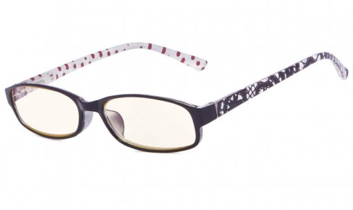 Reading Glasses with Polka Dots Patterned Temples Black-Red-Dot CG908P