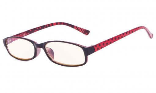 Reading Glasses with Polka Dots Patterned Temples Red CG908P