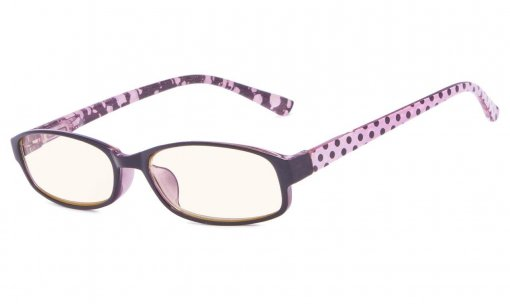 Reading Glasses with Polka Dots Patterned Temples Purple CG908P