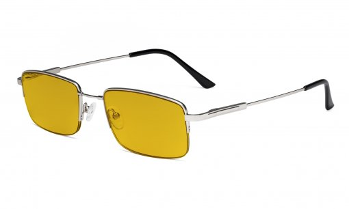 Blue Light Blocking Reading Glasses with Amber Tinted Filter Lens - Half-Rim Memory Titanium Computer Readers - Silver HPCG1702