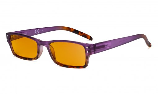 Blue Light Blocking Glasses with Orange Filter Lens for Sleeping  - Fashion Computer Reading Glasses Women - Purple DS012D