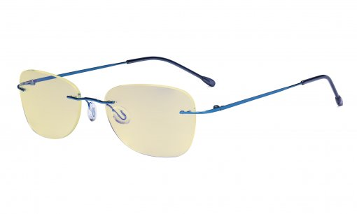 Blue Light Blocking Glasses Women with Yellow Filter Lens - Rimless Computer Reading Glasses Blue TMWK9907B