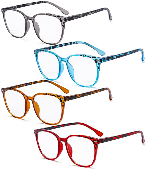 Ladies Reading Glasses - 4 Pack Large Square Readers for Women R9001D-Mix