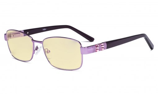 Ladies Blue Light Blocking Glasses with Yellow Filter Lens - Computer Eyeglasses Women Acetate Temples with Crystals - Reduce Eye Strain - Purple LX19007-BB60