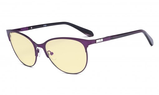 Ladies Blue Light Blocking Glasses with Yellow Filter Lens - Cateye Computer Eyeglasses - Anti Blue Ray Eyewears Women - Purple LX19024-BB60