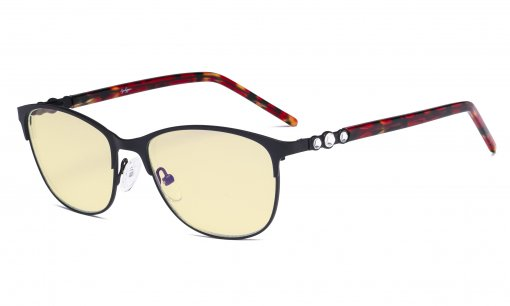 Cat-eye Ladies Blue Light Blocking Glasses with Yellow Filter Lens - Computer Eyeglasses Women Acetate Temples with Crystals - Black LX19020-BB60
