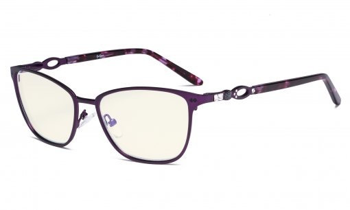 Square Ladies Blue Light Filter Glasses - UV Protection Computer Eyeglasses Women Acetate Temples with Crystals - Purple LX19019-BB40
