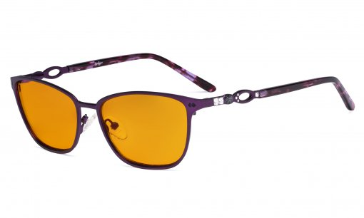 Square Ladies Blue Light Blocking Glasses with Orange Tinted Filter Lens for Sleeping - Computer Eyeglasses Women Acetate Temples with Crystals - Purple LX19019-BB98
