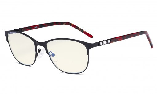 Cat-eye Ladies Blue Light Filter Glasses - UV Protection Computer Eyeglasses Women Acetate Temples with Crystals - Black LX19020-BB40