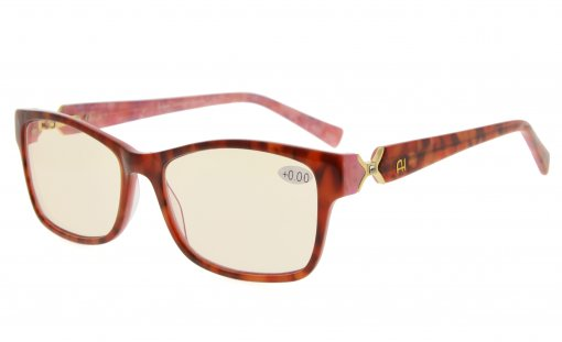 Computer Reading Glasses with Acetate Frames and Tinted Lens Red/Pink Floral AH6208