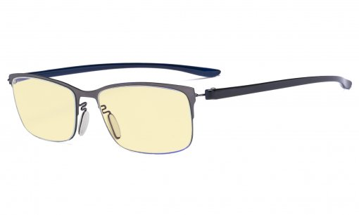 Computer Glasses - Blue Light Blocking Readers with Yellow Fliter Lens - Semi-rim Reading Glasses Women - Gunmetal Frame TMCG12801