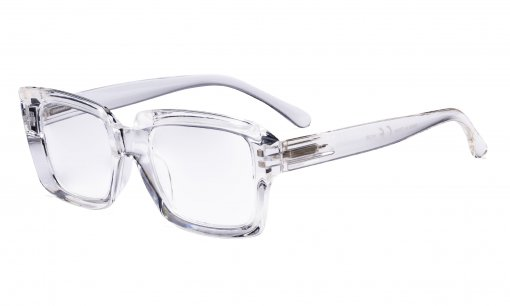 Stylish Reading Glasses Women - Oversized Square Readers Transparent R9107