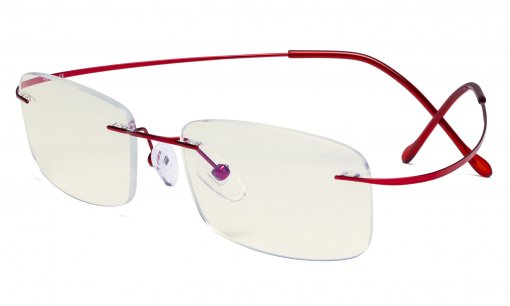 Blue Light Filter Reading Glasses Women Men - UV Protection Titanium Rimless Computer Readers - Red UVR1508