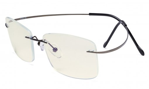 Rimless Blue Light Filter Computer Glasses Men - Cut UV Titanium Screen Protection Reading Glasses - Gunmetal UVR1509