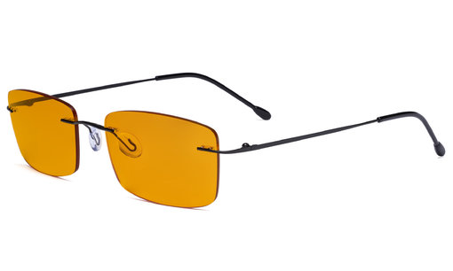 Blue light Blocking Computer Reading Glasses with Orange Tinted Filter Lens for Nighttime - Rimless Anti UV Ray Glare Men - Black DSWK9