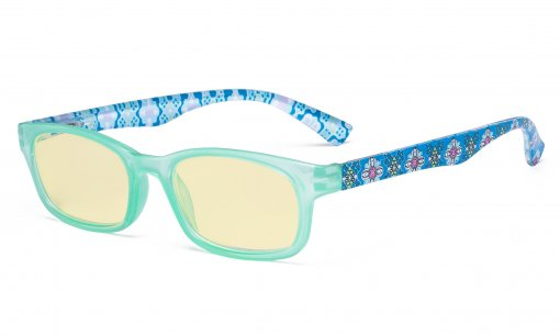 Ladies Blue Light Blocking Reading Glasses with Yellow Filter Lens - Floral Print Colored Computer Readers Women - Blue TM029