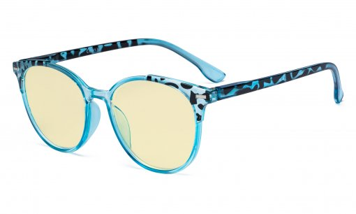 Ladies Blue Light Blocking Glasses with Yellow Filter Lens - Oversized Retro Round Reading Glasses - Tortoise/Blue TM9002D