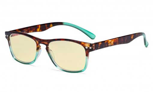 Blue Light Blocking Glasses with Yellow Tinted Filter Lens - Design Computer Eyeglasses Women - Tortoise/Green TM046D