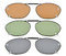 3-pack Clip-on Polarized Sunglasses 2×1 5/16 inch (51x33MM) C84-3pcs-Mix